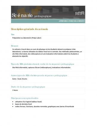 Document : Préparation au laboratoire (Prépa-Labo!)